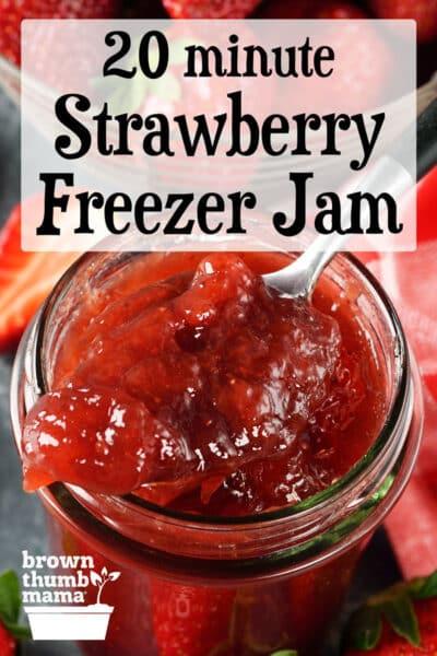 spoon of strawberry jam