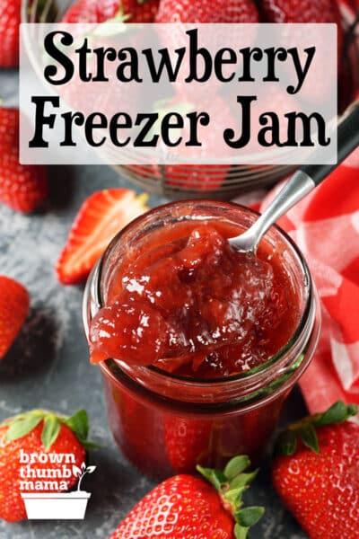 spoon scooping strawberry jam