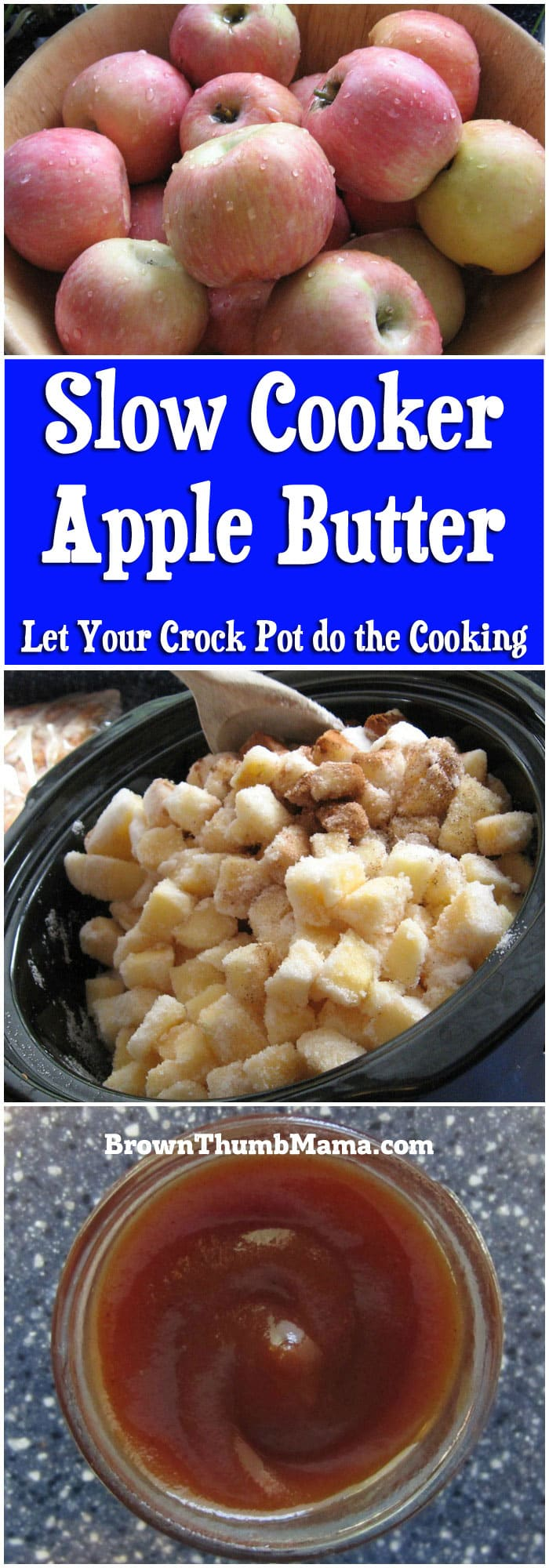 It's so easy to make apple butter in the slow cooker! 5 ingredients make a flavorful spread for toast, english muffins, or best of all--turkey sandwiches.