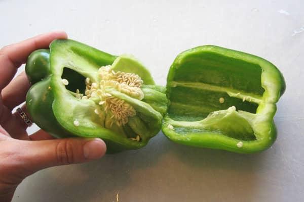 bell pepper cut in half