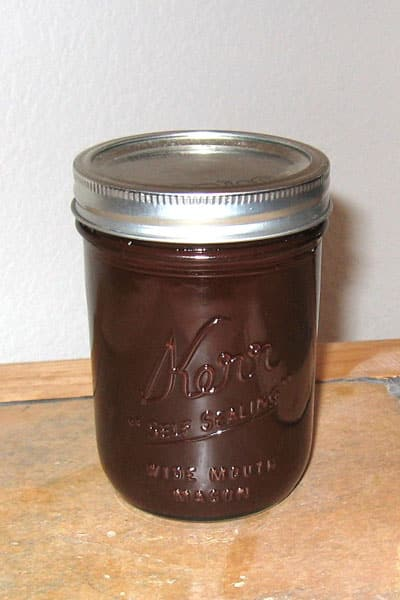 jar of Homemade chocolate syrup