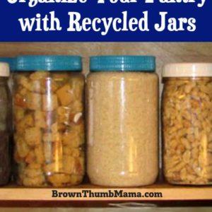 pantry full of recycled jars of bulk foods