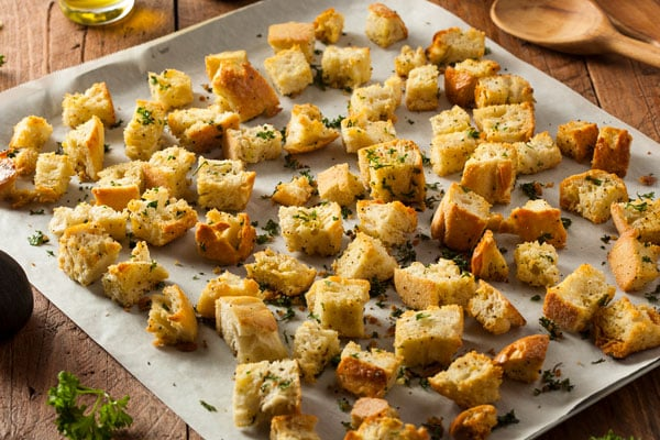 croutons on tray