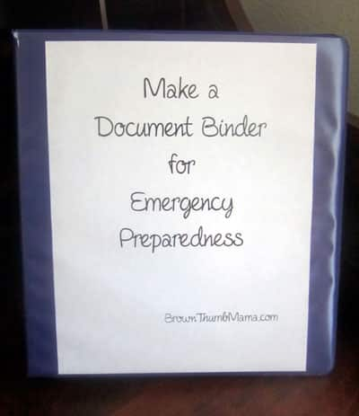 Make a Document Binder for Emergency Prep: BrownThumbMama.com