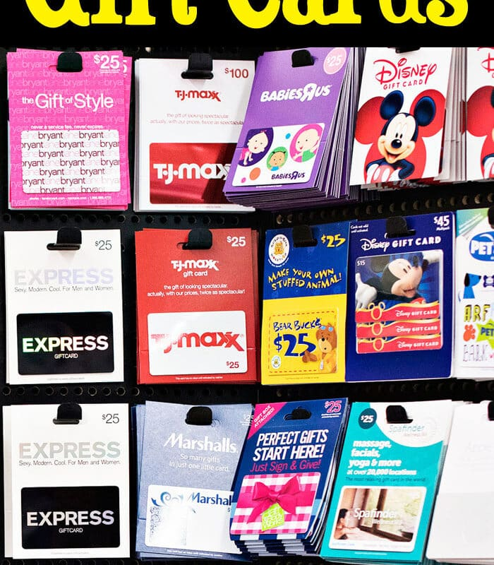 rack of gift cards