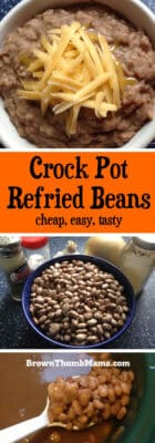 Let your Crock Pot do the cooking! Make delicious, nutritious, refried beans in your slow cooker--with your choice of spices and seasonings.
