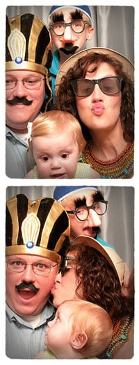 costumed family in photo booth