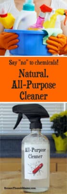 Cheaper and safer than 409 or Fantastik! This natural, all-purpose cleaner works great in the kitchen, bathroom, kids' rooms, and more. Never buy chemical cleaners again!