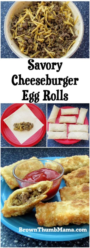 Your taste buds will love this flavor combination! Savory cheeseburger filling surrounded by a crunchy egg roll wrapper makes a perfect snack or fun meal when you're on the go.