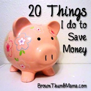 20 Things I do to Save Money