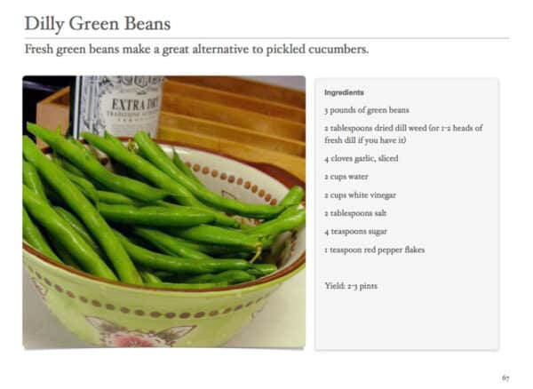 dilly green beans in bowl