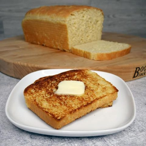 toasted english muffin bread and loaf of bread
