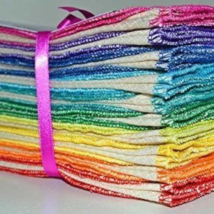 stack of folded thin towels edged in rainbow colors