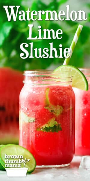 watermelon lime slushie in glasses