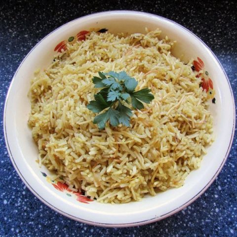 homemade chicken rice-a-roni in a bowl