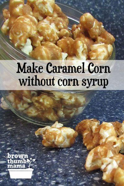 homemade caramel corn spilling out of jar
