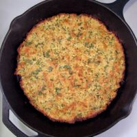 Zucchini Fritter in a Cast Iron Skillet