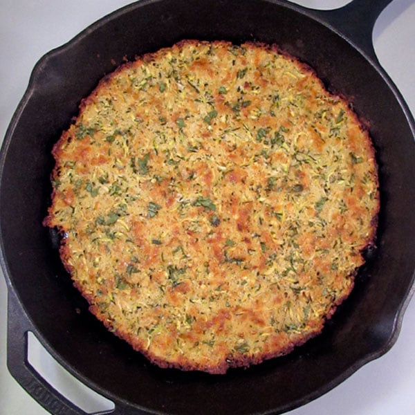 Zucchini Fritter in a Cast Iron Skillet: BrownThumbMama.com