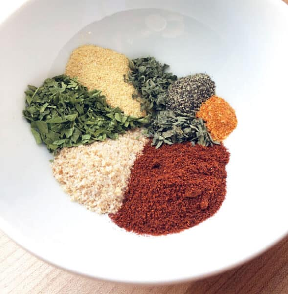 spices to make french fry seasoning in bowl