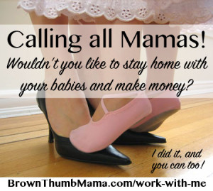 Tired of the grind? Of ignoring your dreams while working for someone else's? You can life the life you want and stay home with your kids. I'm looking for hard workers and leaders to join my team! BrownThumbMama.com