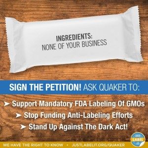 Sign the petition. Ask Quaker to support mandatory GMO labeling!
