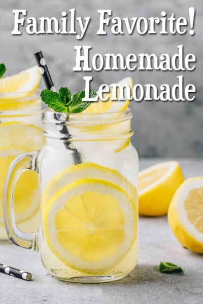 This delicious, homemade lemonade recipe is a burst of tart and sweet flavors--without corn syrup, artificial flavors, or dyes. A family favorite!