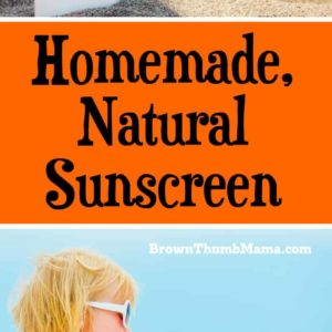 Best sunscreen for babies and kids! Easy to make, homemade, natural sunscreen only has 4 ingredients and is water resistant. Keep the chemicals off your kids this summer!