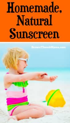 Keep the mystery chemicals off your skin this summer. This homemade, natural sunscreen only has 4 ingredients, is water resistant, and safe for kids.