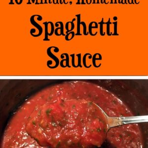 This quick, homemade spaghetti sauce cooks in 10 minutes. Ditch the sugar and additives in jarred sauce and make your own sauce from scratch.