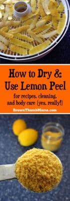 Don't throw away those lemon peels. It's easy to dry lemon peels for use in cooking, cleaning and body care (yes, really!)