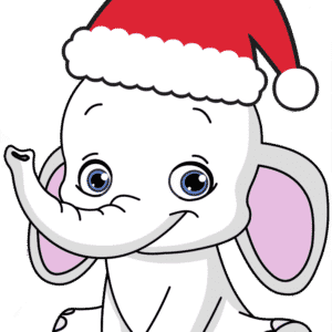 white elephant wearing santa hat