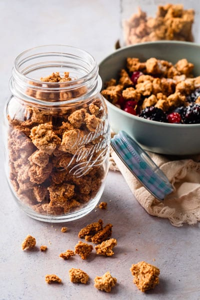 jar of homemade cereal on table