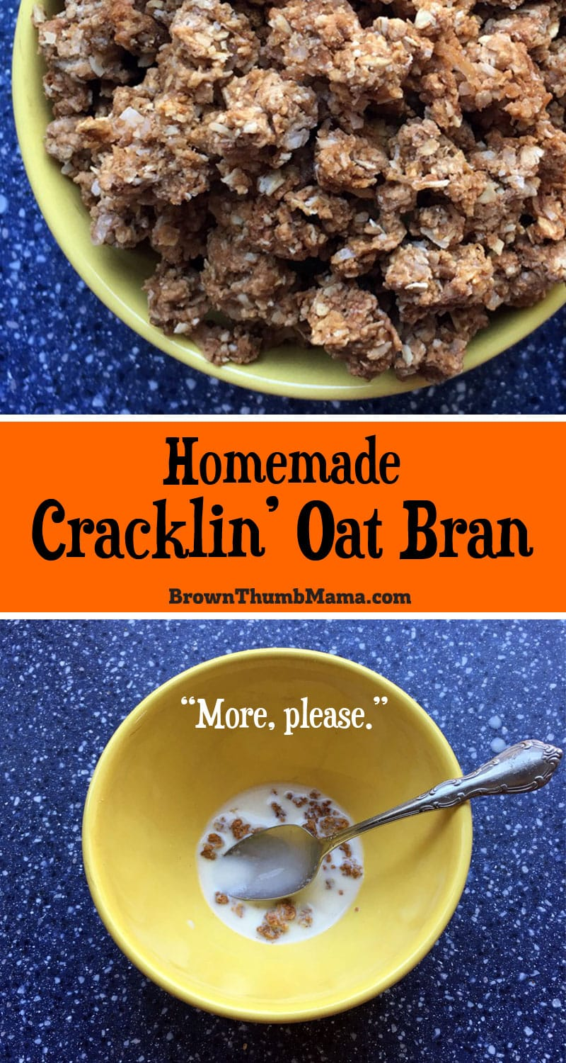 It's easy to make copycat Cracklin' Oat Bran cereal. This homemade version is filling, nutritious, and so much cheaper than the box. Amazing crumbled over ice cream!