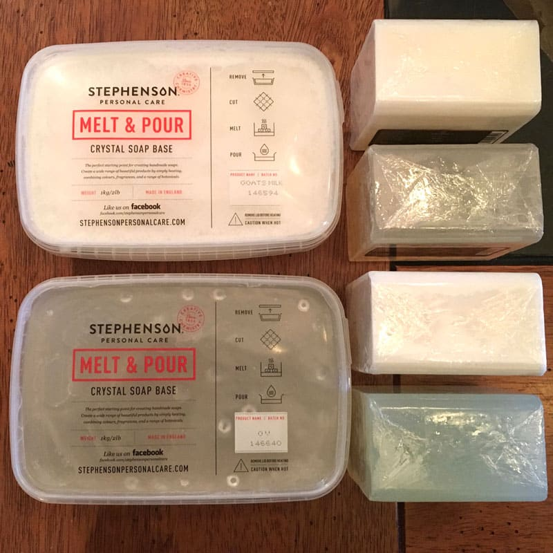 Reviews of the 6 most popular melt and pour soap bases, what type of skin they are best for, and ratings of their bubble-making ability.