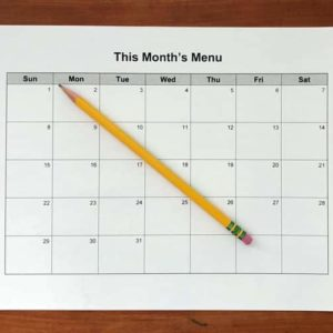 blank calendar page and pencil