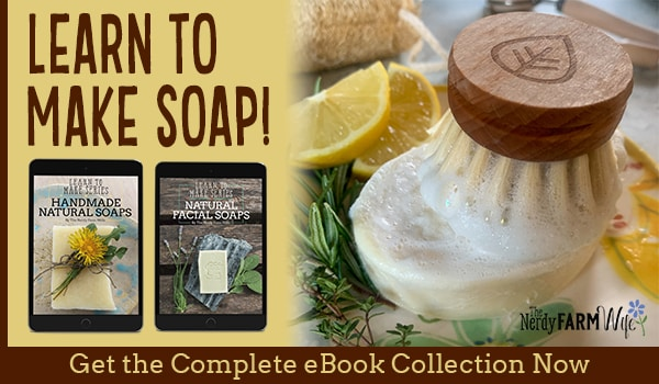 homemade soap with scrub brush