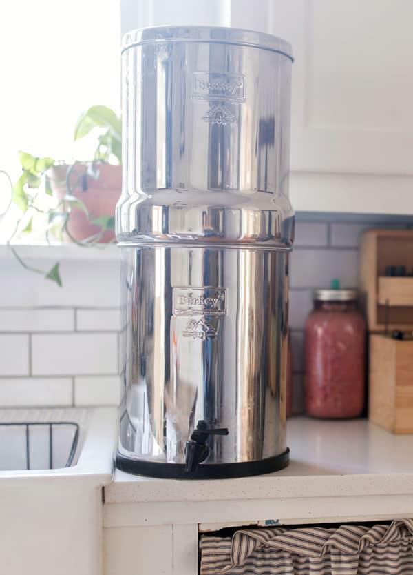 Big berkey water filter on kitchen counter