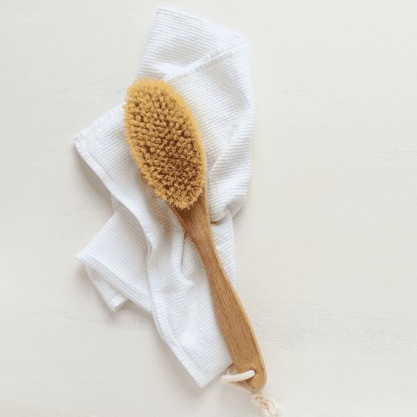 trockene Bürste auf Handtuch legen