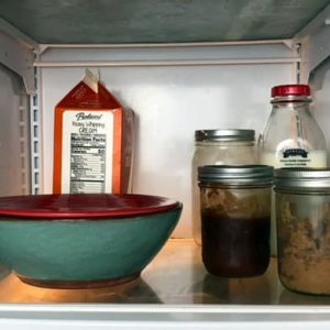 bowl in refrigerator covered with plate and two canning jars