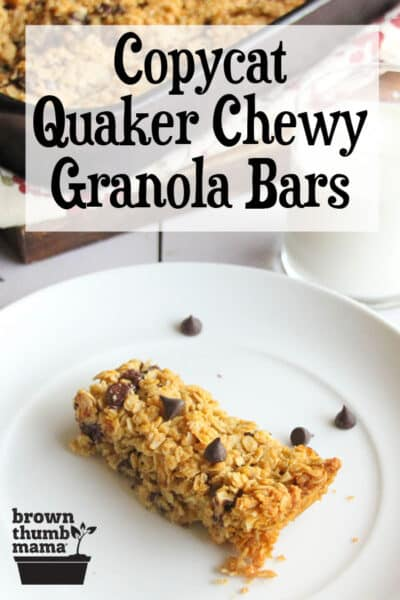chocolate chip granola bar and glass of milk
