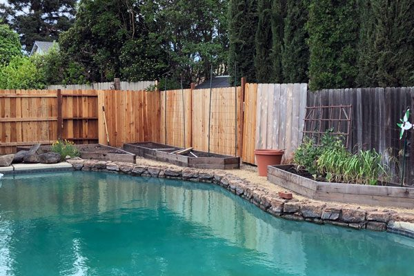 swimming pool with raised bed garden boxes