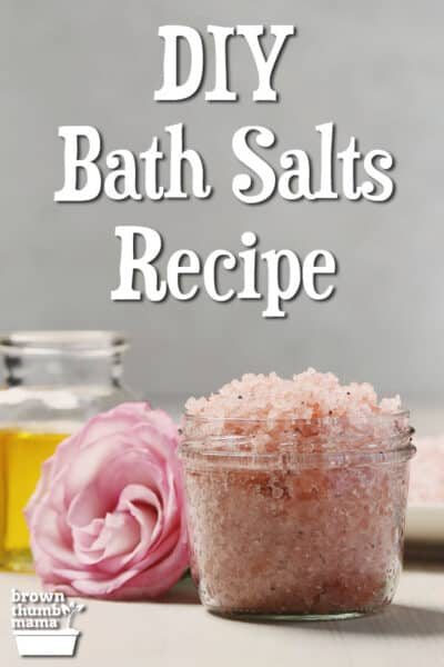canning jar with bath salts and rose
