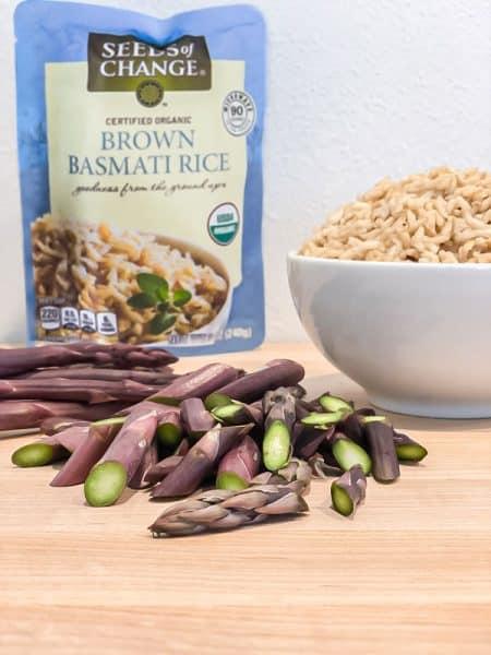 rice and purple asparagus