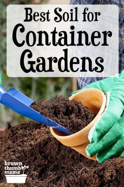 scooping soil into garden pot