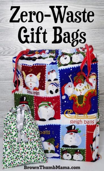 large and small gifts wrapped in fabric gift bags