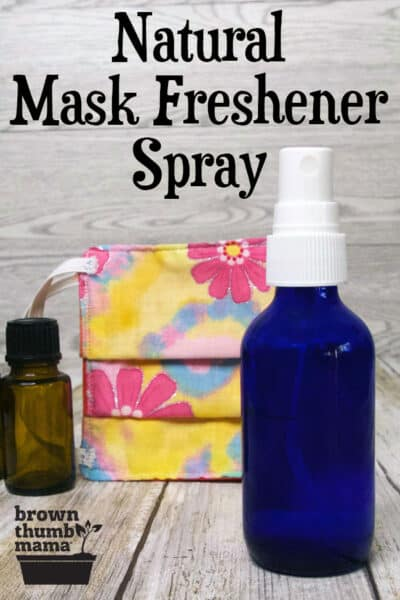 face mask, small spray bottle, essential oil bottle