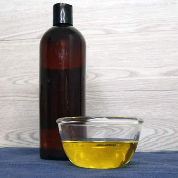 liquid castile soap in bowl with bottle
