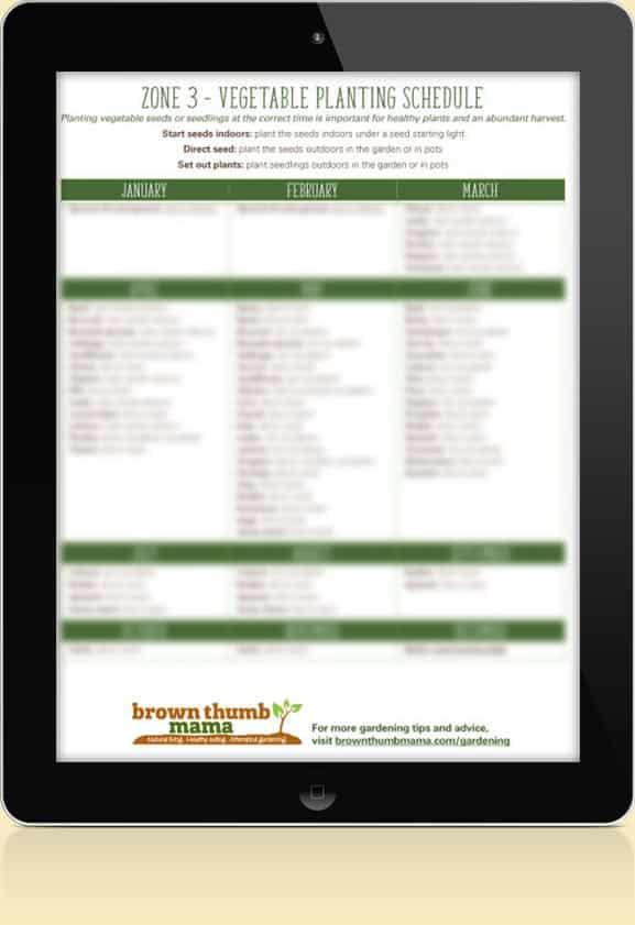 Zone 3 Vegetable Schedule