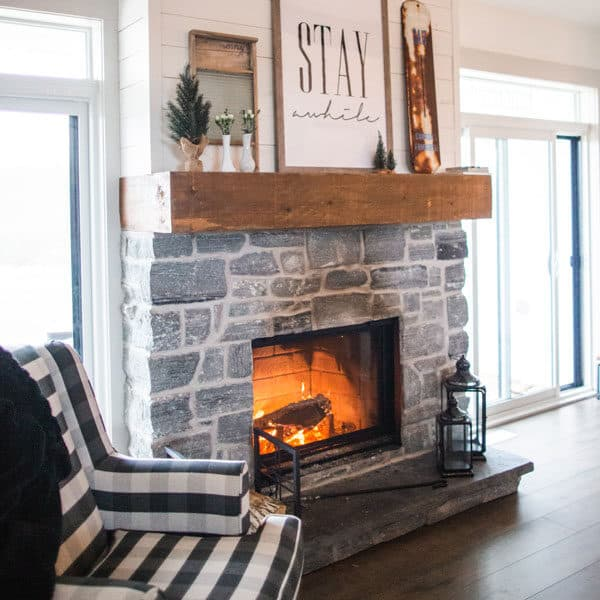 cozy fireplace and chair