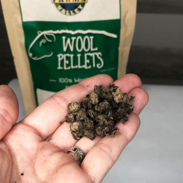 hand holding wool pellets